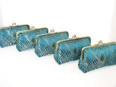 SALE 30% OFF Peacock Clutch In Iridescent Silk Brocade...Set Of 5. $227.50, via Etsy.