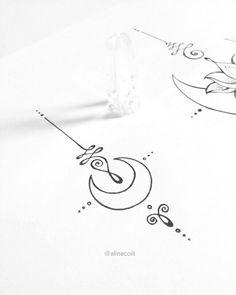 """22 curtidas, 1 comentários - TATTOO CREATOR ☾ ALINE (@alinecoill) no Instagram: """"• U N A L O M E • Desenhos da #tattooweek2017. Vou liberar algumas #JewelryTattoos da Coleção de…"""""""