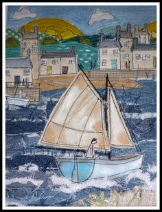 Harbor picture of Loopy Linnet - embroidery Freehand Machine Embroidery, Free Motion Embroidery, Machine Embroidery Projects, Free Motion Quilting, Art Textile, Textile Artists, Terra Nova, Denim Art, Quilt Art
