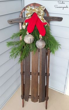 christmas antique sled and sweater mittens winter porch decor, christmas decorations, porches, repurposing upcycling, seasonal holiday decor Christmas Sled, Christmas Countdown, Rustic Christmas, Simple Christmas, Christmas Wreaths, Christmas Crafts, Christmas Ideas, Holiday Ideas, Vintage Christmas