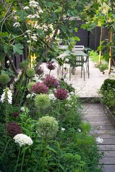 View of the dining terrace, boardwalk and long borders of our coastal garden in Whitstable, Kent