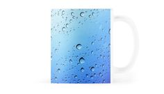 Mug by escarpatte, representing drops on a transparent surface with a blue to white gradient background Gradient Background, Background S, Cool Designs, Surface, Drop, Mugs, Glasses, Prints, Blue