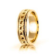 10k Yellow Gold Celtic Four Squares Wedding Band Polish 7mm 01692