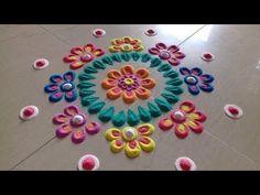 Diwali special colorful rangoli design | Innovative rangoli designs by Poonam Borkar - YouTube