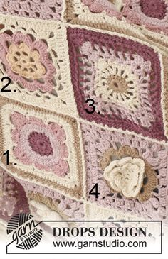 Like a Wildflower Blanket - Squares numbered as in instructions - free pattern @ DROPS Design Crochet Motifs, Crochet Blocks, Crochet Stitches, Free Crochet, Crochet Patterns, Point Granny Au Crochet, Granny Square Crochet Pattern, Crochet Squares, Drops Design