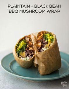 Plantain Black Bean BBQ Mushroom Wraps with turmeric rice and leafy greens, loaded with flavor and healthy ingredients! #vegan #dinner #wrap via @kathypatalsky