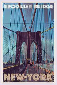 Bedroom Wall Collage, Photo Wall Collage, Picture Wall, Poster Wall, Poster Prints, Brooklyn Bridge New York, Budget Planer, Online Posters, Vintage Travel Posters