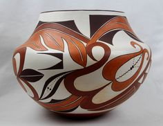 Delores Juanico Acoma Poly Chrome Pottery Olla , #1283 Outside Fire Pits, Fire Pots, Cultural Artifact, Styling Brush, Pueblo Pottery, Bright Background, Native American Pottery, Matte Red, Paint Designs