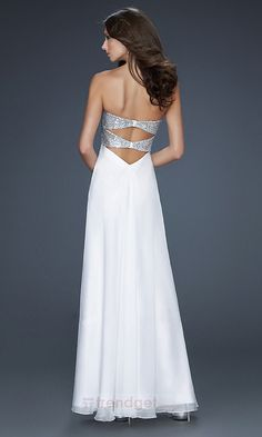 Vintage A-line Sweetheart Floor-length Chiffon Sequined White Evening Dresses - $149.99 - Trendget.com