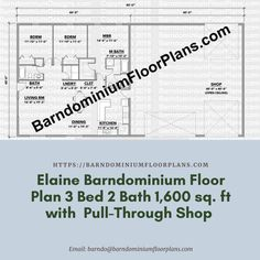$595. Elaine 3 Bed – 2 Bath – 1,600 sq. ft.– with Pull-Through Shop. We sell semi-custom Barndominium floor plans and provide helpful tips to design and build your home whether it is DIY or you are paying a company. #architecture #barndominiums #home #modernbarn #barnhomefloorplans #beautifulbarn #homefloorplan #barnlife #barnhomedesign #housedesign #barndominiumfloorplans #floorplan #dreambarn #barnhouse #shop #barndominiumliving #barndominiumdesign #modernhouse #barn #barns
