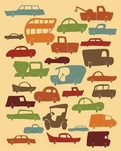 "Cars & Trucks Print Art ""I LOVE CARS"" Vintage Inspired 8x10 Boys Kids Art Bedroom Decor, Cars and Trucks Illustration. $19.00, via Etsy."