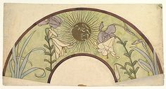 Alphonse Mucha (Czech, Ivancice 1860–1939). Design for a Fan with Sunburst, Lilies, and Irises, late 19th–mid-20th century. The Metropolitan Museum of Art, New York. Gift of Janos Scholz, 1963 (63.701.1) #iris #flower