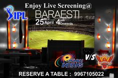 Watch Live screening of IPL2015 to enjoy the shots. At the entrance of #Baraesti you have to pick a respective team's #flag. The flag entitles to guzzles for a great fun #IPL #shots meant for everyone on your table at the beginning of the game and if your team wins you get the winning shots too!