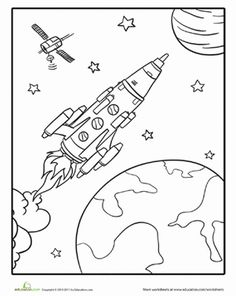 Kindergarten Places Vehicles Worksheets: Rocketship Coloring Page