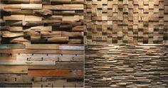 Schitterende wandafwerking met panelen uit gerecycled teak hout.