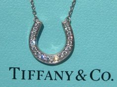 TIFFANY & CO. HORSESHOE HORSE SHOE DIAMOND PLATINUM PT950 PENDANT NECKLACE | eBay