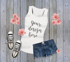 MOCK Up WOMEN sleeveless sport TANK Top blank white png and