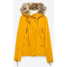 Zara Cotton Parka (10.085 RUB) ❤ liked on Polyvore featuring outerwear, coats, mustard, lined parka, orange parka, zara coat, mustard yellow coat and cotton parka