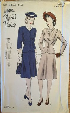 Extremely RARE VTG 4365 Vogue 1942 Vogue by ThePatternParlor