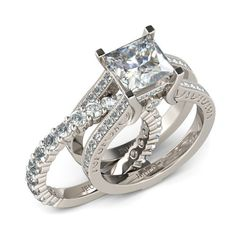 Two in One Princess Cut Created White Sapphire Rhodium Plated 925 Sterling Silver Women's Wedding Ring Set / Engagement Ring
