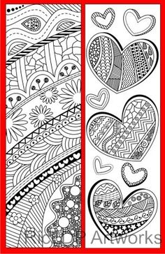 4 Coloring Bookmarks with Abstract Patterns (plus 2 colored items) Colouring Pages, Coloring Pages For Kids, Coloring Books, Diy Bookmarks, Beautiful Flower Drawings, Printable Adult Coloring Pages, Book Markers, Mandala Art, Bookmarks