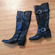 Kelly and katie leather boots sz 7 Kelly and katie buttery soft sz 7 black leather boots w rwo gorgeous side buckles. These boots are like new. Kelly & Katie Shoes Heeled Boots