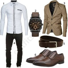 Weißes Kayhan Hemd, beiges Moderno Sakko, schwarze Yazubi Jeans, dunkelbraunen Ledergürtel von Volmer, Bugatti Schnürhalbschuhe und eine Fossil Armbanduhr.