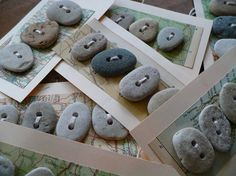 BEACH STONE BUTTONS...  5 beach stone button tags-earth history-pebbles grey rock beige natural findings-sewing notion