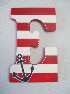 69 Ideas for baby shower ides for boys decorations anchors wooden letters Painted Letters, Wood Letters, Beach Crafts, Diy Crafts, Wooden Initials, Nautical Bedroom, Nautical Party, Letter A Crafts, Boy Decor