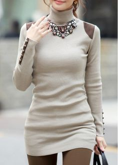 Chic Long Sleeve Turtleneck PU Splicing Woman Pullover