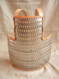 Replica of an interpretation of the iron lamellar armour found in Birka, Viking age, Sweden. Lamellar Armor, Viking Armor, Larp Armor, Samurai Armor, Viking Age, Viking Hood, Chainmail Armor, Swedish Fashion, Medieval Weapons