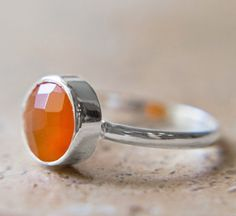 Faceted Carnelian Ring Sterling Silver by SereneImpressionGems