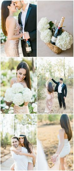 This couple's gorgeous, glittering Gauteng Engagement Photographs at Lace on Timber by Grace Studios Photography with gold sequin gown, champagne + flowers celebrated their love beautifully. via @confettidaydreams