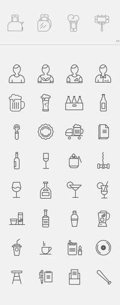Free Bar Icons by s-pov spovv, via Behance