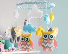 Owl Mobile   Owl /Elephant Mobile Nursery Mobile  by FlossyTots