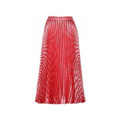 Gucci Pleated Metallic Silk-Blend Skirt (60 480 UAH) ❤ liked on Polyvore featuring skirts, red pleated skirt, gucci, pleated skirt, metallic skirt and gucci skirt
