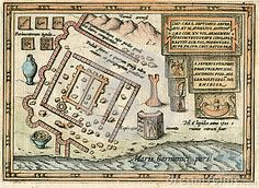 Image is taken from an original 1618 Antique Print Ancient Roman fort and town of Lugdunum Batavorum in present day Katwijk on the North Sea coast of The Netherlands