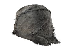 Hat #1 from Leens (object nr. GM1939/IV:13/1) constructed from three pieces of different fabrics (rear image showing the extended rear portion)