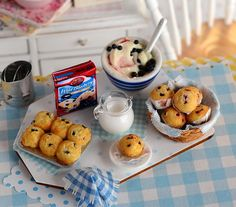 Miniature Baking Blueberry Muffins Set by CuteinMiniature on Etsy