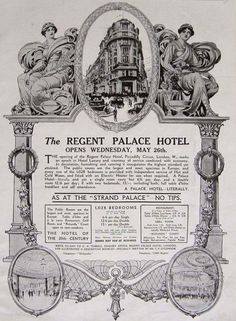 Brasserie Zédel was once part of The Regent Palace Hotel, which was built by 'T Lyons & Co. Honeymoon Hotels, French Restaurants, Retro Advertising, Palace Hotel, Old London, Vintage Travel Posters, David Collins, Beautiful Places, Personalized Items