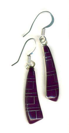 Southwest EARRINGS Inlay Purple Sugalite Stone Gemstone ~ Sterling Silver Tucson Gem Show, Turquoise, Gemstones, Personalized Items, Sterling Silver, Purple, Earrings, Ebay, Design