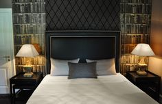 Dark and brown bedroom with Andrew Martin wallpaper Leather Headboard, Hotel Guest, Interior Design Studio, Contemporary Bedroom, Guest Rooms, Geneva, Projects, Black Leather, Furniture