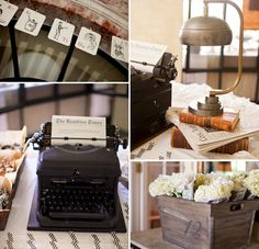 accents of vintage typewriter, old books, wooden crates, black and white Alphabet cards, white flowers