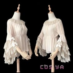Daily Casual Lolita Shirt Detachable Flare Night Party White Chiffon Blouse Cos