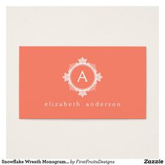 Snowflake Wreath Monogram in Coral Pink & White Business Card - A snowflake wreath monogram in coral pink and white. Simply, classically seasonal.