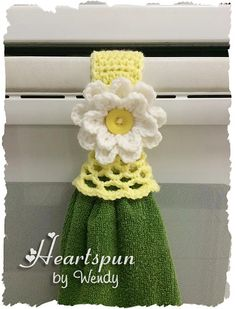 Ravelry: Kitchen Towel Holder Ring with Skirt and Flower pattern by Wendy Connor