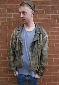 Men's vintage leather biker/perfecto jacket