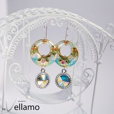 Dangle ice blue statement earrings with blue gold by byVellamo Earrings Handmade, Handmade Jewelry, Crystal Jewelry, Blue Gold, Statement Earrings, Dangles, Swarovski, November 2015, Sterling Silver