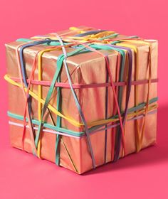 Rubber bands as gift bow.