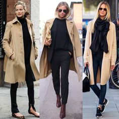 Camel and Black ✔️✔️✔️Left, Center or Right? Mode Outfits, Chic Outfits, Fall Outfits, Fashion Outfits, Womens Fashion, Work Fashion, Fashion Looks, Trench Coat Outfit, Mode Jeans